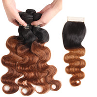 Ombre Peruvian Virgin Hair Bundles With Closure Peruvian Bod...