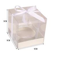 البني الأبيض كرافت ورقة كب كيك مربع كعكة مربع مع نافذة واضحة حفل زفاف لصالح صندوق تغليف كعكة QW8468