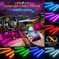 4 in 1 Auto innerhalb der Atmosphäre Lampe 48 LED Innenausstattung Beleuchtung RGB 16-Farben-LED Drahtlose Fernbedienung 5050 Chip 12V LED-Streifen-Licht