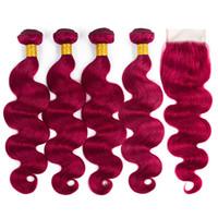 Burgundy Malaysian Body Wave Hair Bundles con cierre de encaje de color 99 # extensión peruana brasileña del pelo humano de Malasia al por mayor