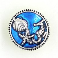 Gros boutons interchangeables bricolage Ocean Beach Seahorse Seashell Starfish boutons pour 18mm Snap Bijoux Snap Bouton Bracelet Snap Collier