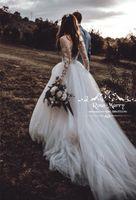 Princesa de manga larga Country Beach vestidos de novia 2019 una línea de encaje Vintage 3D Floral tamaño más barato Boho vestidos de novia Vestido De Novia