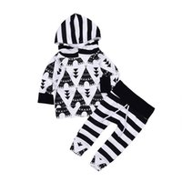 Baby Boys Hooded Suits Geometric Striped Printing Triangle B...
