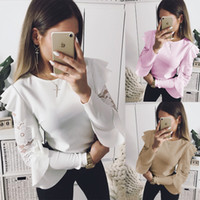 2018 Sexy Ruffle Lace Blouse Shirt Women Long Sleeve Floral ...
