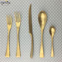 5 20 30 Stücke Matte 304 Edelstahl Silber Gold Besteck Steak Messer Teelöffel Abendessen Gabel Scoop Geschirr Geschirrspüler Sicher