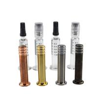 Colorido Metal Twist Plunger 1 ML Luer Lock Head jeringas de vidrio con marca de medición para cartuchos de vape cartuchos de vape contenedor de aceite grueso
