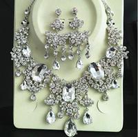 2 teile / satz Hohe Qualität Kristalle Hochzeit Braut Schmuck Mithelfer Set (Ohrring + Halskette) Kristall Blätter Design Mit Faux Perlen HKL526