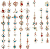 Bijoux fantaisie or rose perle cage bijoux médaillon pendentif conclusions cage huile essentielle diffuseur médaillon pour huître perle