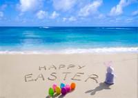 해피 부활절 일 비치 사진 배경 비닐 인쇄 된 다채로운 계란 토끼 아기 신생아 사진 소품 스튜디오에 대 한 푸른 하늘 바다 배경