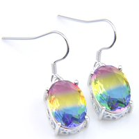 Luckyshine Bride Jewelry unique multi-color Oval Tourmaline Earrings 925 Sterling Silver Plated Dangle Hook Earring for Women