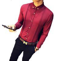 Camisa Masculina 2018 가을 뉴 남성 턱시도 셔츠 긴 소매 슬림 피트 비즈니스 캐주얼 셔츠 실크 패션 솔리드 파티 셔츠