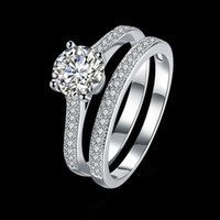 925 Sterling Silver Rrings 2pcs Set Zircon Gem Elegant Tempe...