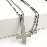 Articoli da regalo Moda Uomo Croce d'Argento di San Pietro Upside catena collana cattolica di Down Croce Ciondolo in acciaio inox 18-32 ''