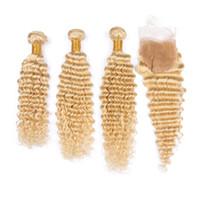 Бразильские светлые человеческие волосы 3 пучка с закрытием # 613 Блондинка глубокая волна волнистые плетеные уточные волосы с кружевом 4x4