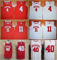 MENS Indiana Hoosiers Koleji Basketbol Formaları 4 Victor Oladipo 11 İsiah Thomas 40 Cody Zeller Kırmızı Dikişli Üniversite Basketbol Formaları