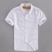 2020 Estate Nuovo Business Business Casual Biancheria Biancheria da uomo in cotone manica corta bianca camicia camicia abbigliamento uomo camicie camisa masculina