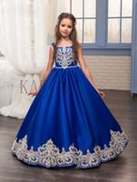2019 Royal Blue Flower Girl Dresses O-Ncek Appliques Senza maniche Ball Gown Formal Bow Sash Prima Comunione Abiti Vestido Longo231321
