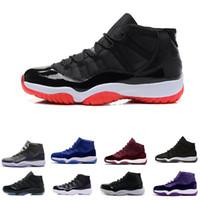 Toptan 11 Balo Gece Spor Salonu Kırmızı Midnight Donanma Siyah Stingray Bred Concord Uzay Reçel Ayakkabı 11 S Erkek Bayan Çocuklar Basketbol Sneaker