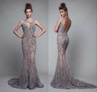 Luxury Berta Mermaid Evening Dresses Backless Beads Trumpet ...