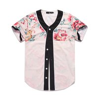 Мужчины Бейсбол Джерси 3D Flower Цифровая печатная рубашка Streetwear тройники рубашки Hip Hop Tops Кнопки Homme