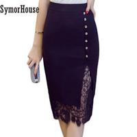 230414b901 Patchwork de tamaño más grande falda de oficina de un solo pecho faldas  lápiz mujer Falda de moda Sexy señoras Midi falda de Bodycon
