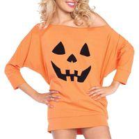 T-shirt das mulheres Mulheres Halloween Roupas Senhora Manga Longa Pullover Face Impresso Feminino Scoop Neck Tops