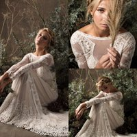 Ultimi abiti da sposa sirena gotico avorio Fancy Plus Size V Torna Boho Country Wedding Gown 2018 Sparkly Lace Church Princess robe de marié