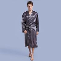 Männer Nachtwäsche Langarm Lace-up Hohe Qualität Mikrofaser Siamesische Pyjamas V-Ausschnitt Tasche für Herrenbekleidung