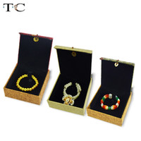 الراقية الكتان عرض المجوهرات هدية مربع 3 اللون الإسورة سوار حالات مجوهرات تغليف تغليف المنظم صناديق 10 * 10 * 3 سنتيمتر