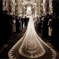 الساحرة الفاخرة زين 5 متر الزفاف الحجاب يزين الدانتيل حافة الأبيض العاج 2 طبقات مع مشط المرفقة مخصص الحجاب طويل الزفاف