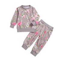 Bebê Outono Floral Clothes Set Crianças Menina Manga Longa Tshirt Top Algodão Flores Calças 2 Pcs Ternos Moda Treino Outfits