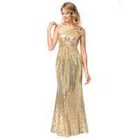 Women Sequins Maxi Party Dress One- Shoulder Gold Sequin Long...