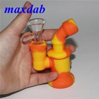 미니 실리콘 봉지 물 담뱃대 작은 DAB 버너 파이프 버블 러 흡연 파이프 유리 그릇이있는 고품질 오일 장비