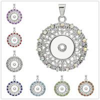 8 Color Noosa Snap Buttons Garland Hollow Out Collares pendientes Joyería de cadena de acero inoxidable Colores Rhinestone Colgante Collar