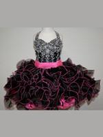Vestido de bola de rosie brillo vestidos de niña con cuello halter con cuentas con cuentas orgzoras Pagones cortos Vestidos con cremallera para arriba