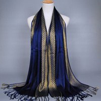 Fashion Gold Wire Scarf Mujeres Borlas Bufandas Bandanas musulmanes Lady Hijabs Gran tamaño algodón Chales 180-60 cm Bufanda de seda dorada