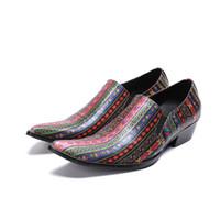 Весна Осень мужская обувь на высоком каблуке заостренный носок слип на принтере кожаная мода бездельник свадебные туфли мужчины карьера работа шоу обувь