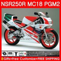 Bodys Pour HONDA NSR250R MC16 MC18 PGM2 NS250 88 89 78HM.53 NSR 250 R supérieur vert rouge NSR250 R RR NSR250RR NSR 250R 88 89 1988 1989 Kit de carénage