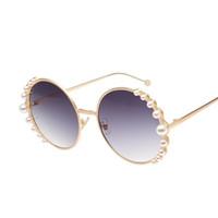 뜨거운 새로운 패션 럭셔리 라운드 선글라스 여성 진주 태양 안경 여성 그라데이션 안경 금속 프레임 UV400