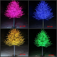 LED impermeable al aire libre del jardín del paisaje del árbol de melocotón simulación lámpara de 1,5 ~ 3 metros / 480 ~ 2304 de la cereza del LED se enciende el árbol de flor decoración de jardín