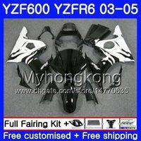 Corpo per YAMAHA YZF600 YZF R6 03 04 05 YZFR6 03 Carrozzeria 228HM.9 YZF 600 R 6 YZF-600 YZF-R6 Fiamme bianche in vendita 2003 2004 2005 Kit carenature