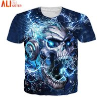 wholesale Thunder Skull T Shirt EUR Size Men Women Hip Hop S...