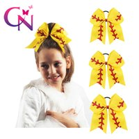 Yellow Baseball Hair Bow Boutique Mini Ribbon Bow For Girls ...