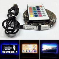 Su geçirmez 5 V LED Şerit Işık 0.5 M 1 M 2 M 30 LEDS Esnek 5050 RGB TV Arka Işık USB Kablosu ve Mini Kontrol Cihazı Noel LED Işıkları