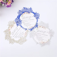50pcs Flower Glitter Paper Laser Cut Invitation Cards Weddin...