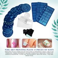 13pcs кружева розы Forest Изображение ногтевых пластин + 2 Стампер скребок Set Nail Art Штамповка Plate Art Tools