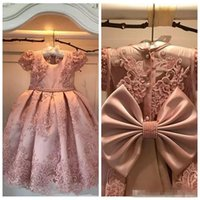 Custom O- Neck Lace Beaded Pearls Flower Girl Dresses A Line ...