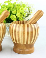 Eco- friendly bamboo mortar and pestle kitchen dinnerwares de...