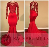 Elegant 2018 Sheer Long Sleeves Mermaid Prom Dresses Appliques Sequined Red Satin Evening Gowns Black Girl