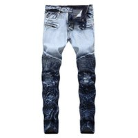 f9d45099 Men Ripped Jeans Biker Slim Fit Pleated Jeans Pants Fake Zipper Stretch  Fashion Trousers New Design Plus Size 28-42 Dropshipping